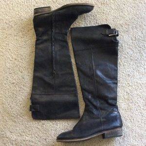 BP Darbie knee high pull on boots. Black. Size 8.5